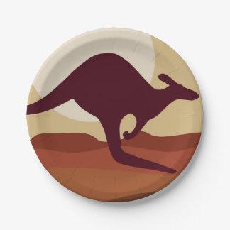 Outback kangaroo paper plate