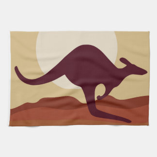 Outback kangaroo tea towel