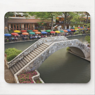 Outdoor cafe along River Walk and bridge over 2 Mouse Mat