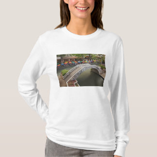 Outdoor cafe along River Walk and bridge over 2 T-Shirt