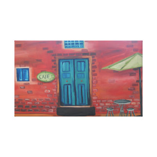 """Outdoor Cafe Oil Painting Print 24"""" x 18"""", 1.5"""""""