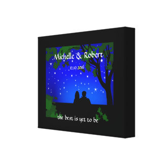Outdoor Campers Stargazers Wedding Couple Custom Canvas Print