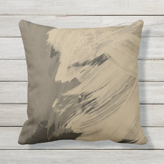 Outdoor cushion abstract browns taupe decor pillow