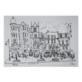 Outdoor Dining along Indiana St.   Washington DC Poster