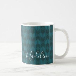 Outdoor Geo Step   Dark Teal Pattern Coffee Mug
