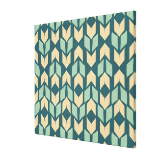 Outdoor Geo Step | Geometric Teal Arrow Pattern Canvas Print