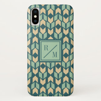 Outdoor Geo Step | Geometric Teal Arrow Pattern iPhone X Case