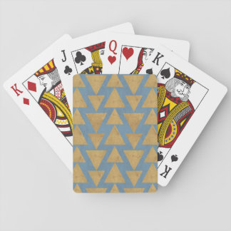 Outdoor Geo Step   Gold & Blue Pattern Playing Cards