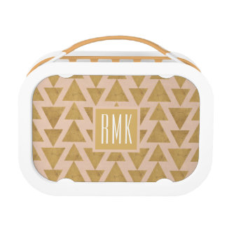 Outdoor Geo Step | Gold & Coral Geometric Pattern Lunch Box