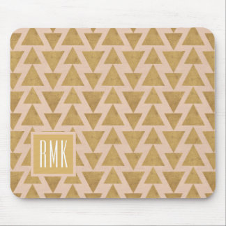 Outdoor Geo Step | Gold & Coral Geometric Pattern Mouse Mat