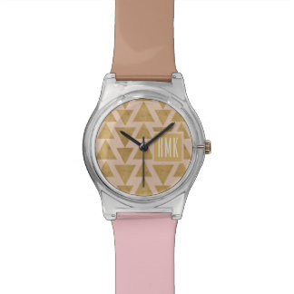 Outdoor Geo Step | Gold & Coral Geometric Pattern Watch
