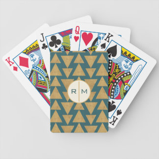 Outdoor Geo Step | Gold & Dark Teal Pattern Bicycle Playing Cards