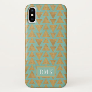 Outdoor Geo Step | Gold & Teal Pattern iPhone X Case