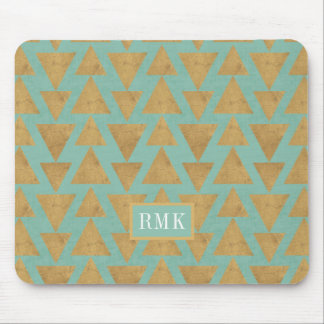 Outdoor Geo Step | Gold & Teal Pattern Mouse Mat