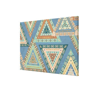 Outdoor Geo X | Blue Tribal Indian Pattern Canvas Print