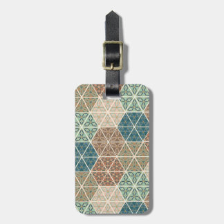 Outdoor Geo XI | Blue & Green Tribal Pattern Luggage Tag