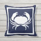 Outdoor Nautical CRAB white navy reversable Cushion