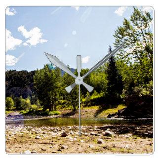Outdoor River and Mountain Wall Decor Clock