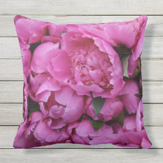 Outdoor Safe Pink Peony Flower Floral Pattern Cushion