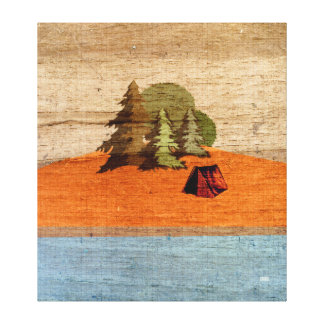 Outdoor Tent Camping in the Woods Woodgrain Look Stretched Canvas Print