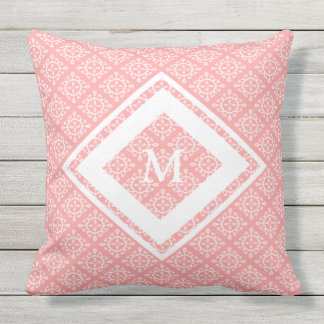 Outdoor Throw Pillow Coral/Wht Monogram OP1024