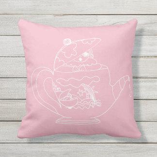 Outdoor Throw Pillow - Tea Time - Pink