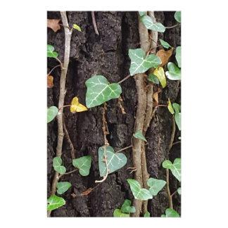 Outdoor Tree Bark With Green Ivy Custom Stationery
