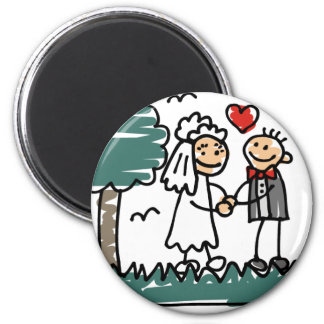 Outdoor Wedding Outside Nature Green Wedding 6 Cm Round Magnet
