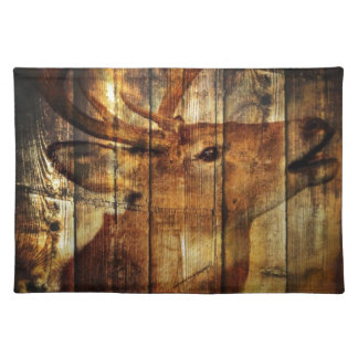 Outdoorsman primitive barn wood whitetail deer placemat