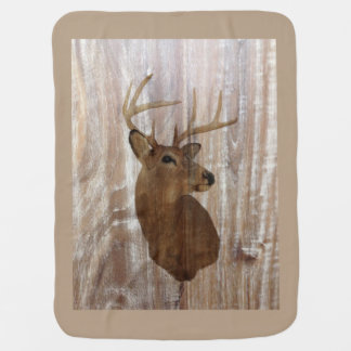 Outdoorsman Western Primitive barn wood deer Baby Blankets