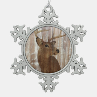 Outdoorsman Western Primitive barn wood deer Pewter Snowflake Decoration