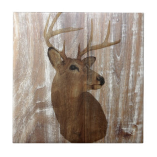 Outdoorsman Western Primitive barn wood deer Small Square Tile