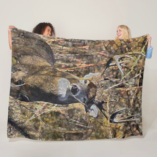 Outdoorsman Whitetail Deer Buck Hunter Plush Fleece Blanket