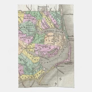 Outer Banks and Eastern North Carolina Map (1827) Tea Towel