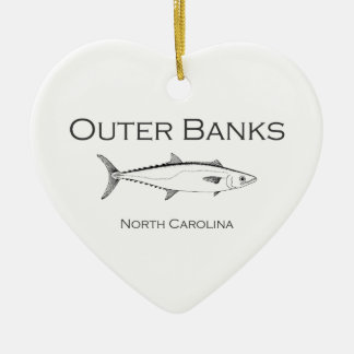 Outer Banks North Carolina King Mackerel Ceramic Heart Decoration