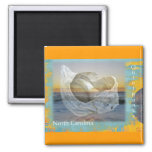 Outer Banks North Carolina Seashell & Surf Square Magnet