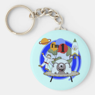 Outer Space 1st Birthday  T-shirts and Gifts Basic Round Button Key Ring
