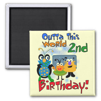 Outer Space 2nd Birthday Tshirts and Gifts Magnets