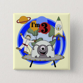 Outer Space 3rd Birthday Tshirts and Gifts 15 Cm Square Badge