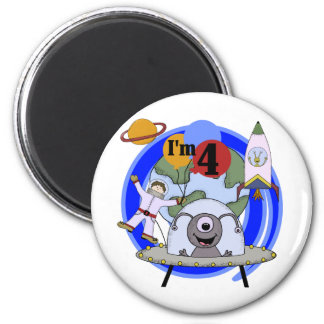 Outer Space 4th Birthday Tshirts and Gifts 6 Cm Round Magnet