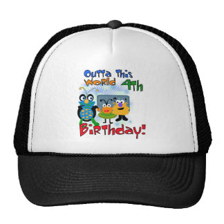 Outer Space 4th Birthday Tshirts and Gifts Trucker Hat