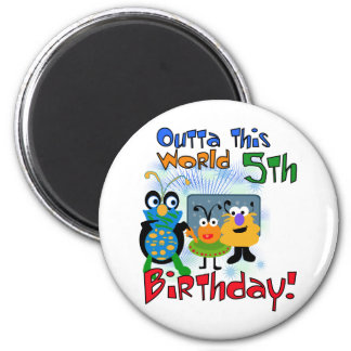 Outer Space 5th Birthday Tshirts and Gifts Refrigerator Magnets