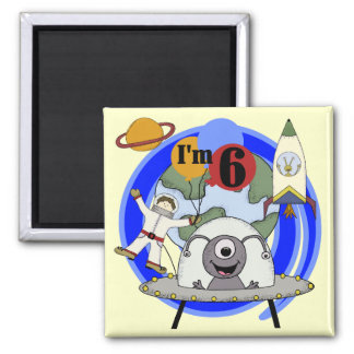 Outer Space 6th Birthday  Tshirts and Gifts Magnets