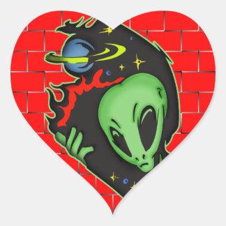 Outer Space Alien Heart Sticker