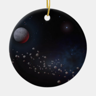Outer Space Asteroids & Planets Round Ceramic Decoration