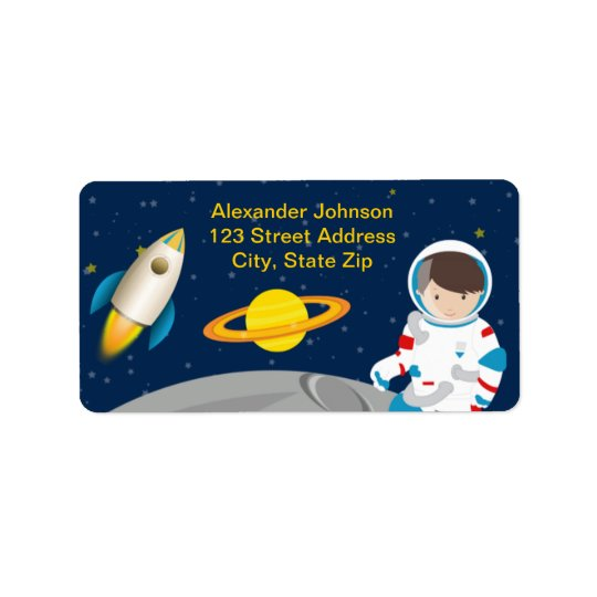 Outer Space Astronaut Birthday Party Address Label