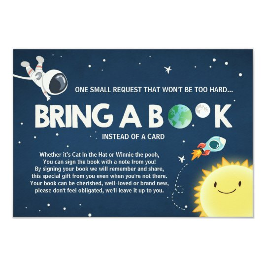 Outer space Bring a book card baby shower Boy