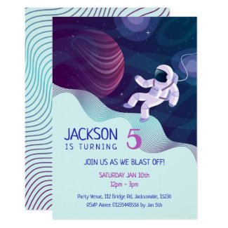 Outer Space Explorers Theme Party Invitation