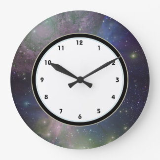 Outer Space galaxy, stars and nebula astronomy Large Clock