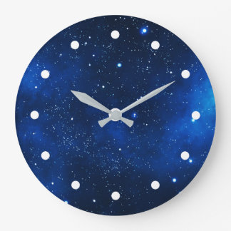 Outer Space Galaxy Stars Large Clock